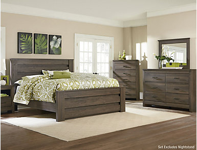 Haywood Queen Bedroom Set, Weather Brown, , large