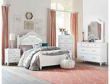 Olivia 5 Piece Full Bedroom Set, White, , large