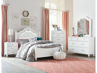 Olivia 4 Piece Full Bedroom Set, White, , large