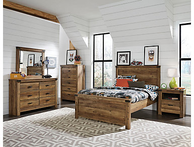 Stanley 4 Piece Full Bedroom Set, Rusty knotty pine finish, , large