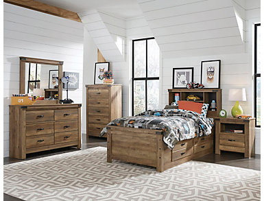 Stanley 4 Piece Full Storage Bedroom Set, Rusty knotty pine finish, , large