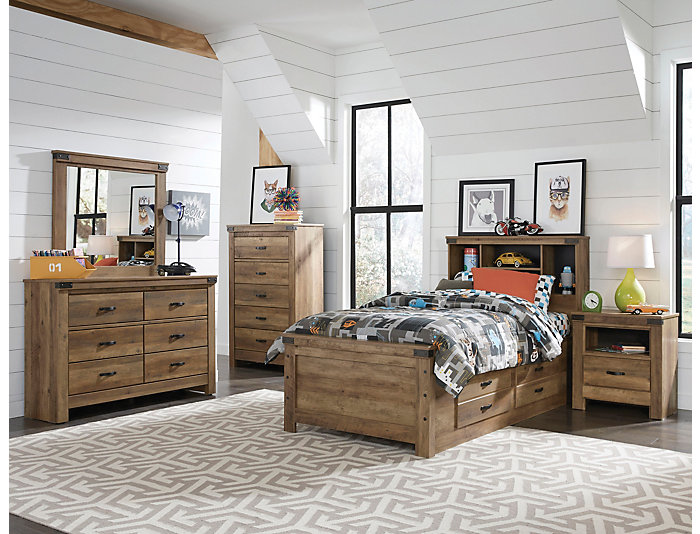 Stanley 5 Piece Twin Storage Bed Rusty Knotty Pine Finish