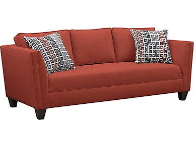 Asher Scarlett Sofa, Red, large