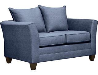 Fallon Blue Loveseat with Miramar Abercorn Pillows, Blue/Abercorn, large