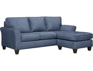Oliver II Blue Sofa Chaise With 2 Abercorn Toss Pillows, Blue/Abercorn, large