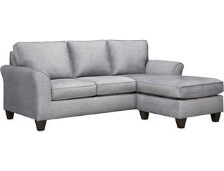Oliver II Fog Sofa Chaise With 2 Abercorn Toss Pillows, Grey, large