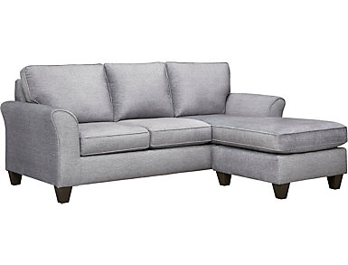 Oliver II Fog Sofa Chaise With 2 Abercorn Toss Pillows, Fog/Abercorn, large