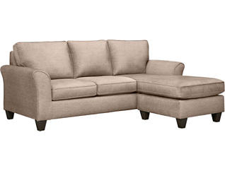 Oliver II Sand Sofa Chaise With 2 Abercorn Toss Pillows, Beige, large