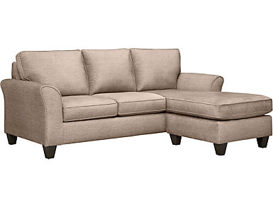 Oliver II Sand Sofa Chaise With 2 Abercorn Toss Pillows, Sand/Abercorn, large