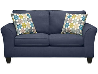 Oliver Loveseat, Navy with Tidal Pillows, Navy/Tidal, large