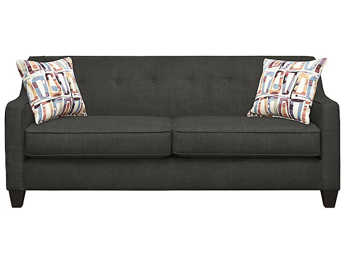 Axis Sofa, Charcoal With Plum Pillows, Charcoal/Plum, Large
