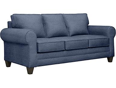 Saxon II Blue Sofa with Miramar Abercorn Pillows, Blue/Abercorn, large