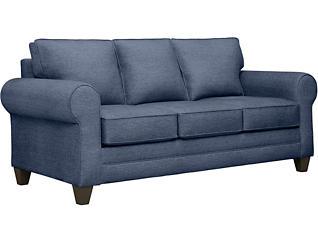 Saxon II Blue Sofa with Hobby Nostalgic Pillows, Blue/Nostalgic, large