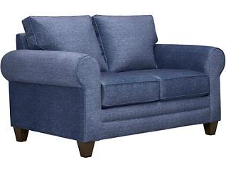 Saxon II Blue Loveseat with Miramar Abercorn Pillows, Blue/Abercorn, large