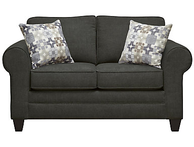 Saxon Loveseat, Charcoal with Moonstone Pillows, Charcoal/Moonstone, large