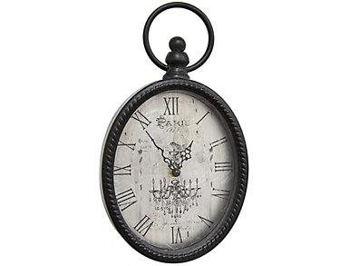 Antique Black Oval Wall Clock, , large