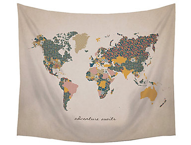 Adventure Awaits Map Tapestry, , large