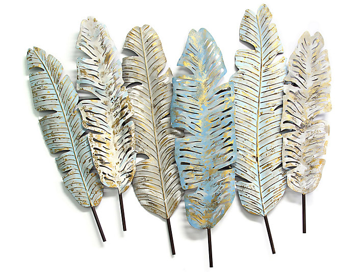 Ely Feather Metal Wall Decor, , large
