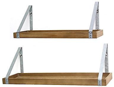 Wood & Metal Shelves Set of 2, , large