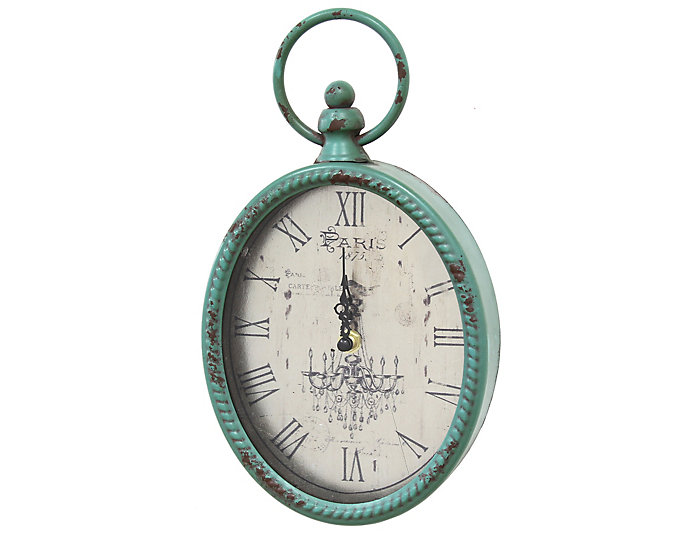 Antique Teal Oval Clock, , large