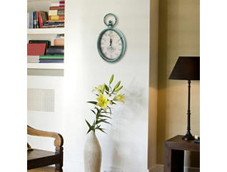 Antique Teal Oval Clock, , large