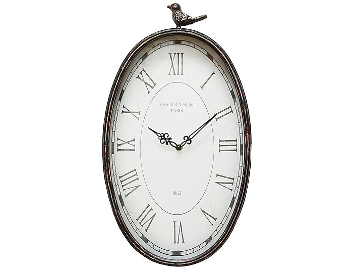 Antique Oval Bird Clock, , large