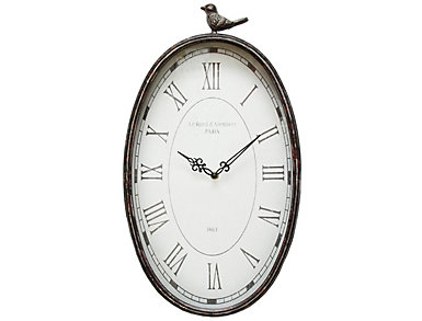 Antique Oval Bird Clock, , large