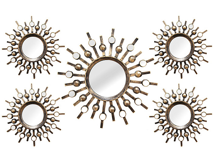 Burst Wall Mirrors (Set of 5), , large