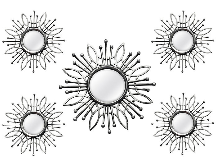 Silver Burst Mirror (Set 5), , large