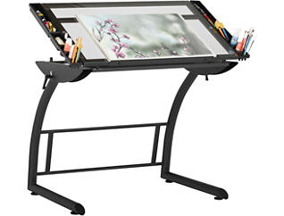 Abbey Grey Drawing Table, , large