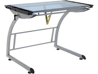 Abbey Silver Drawing Table, , large