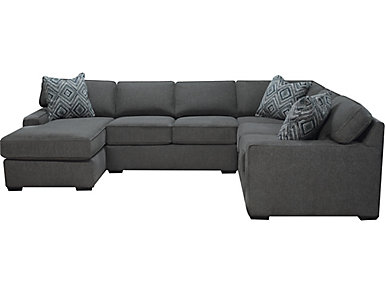 Diamond 3 Piece Left Arm Facing Chaise Sectional, Charcoal, , Large