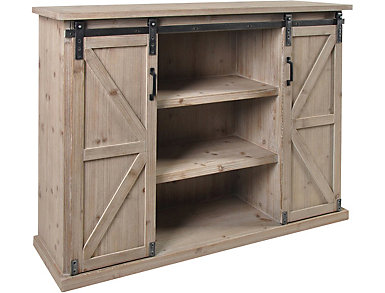 Elsie Driftwood Sliding Barn Door Chest, , large