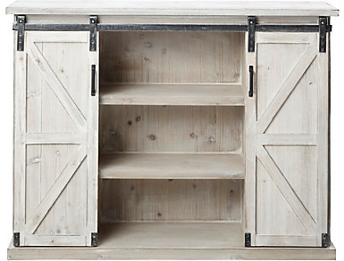 Elsie Whitewash Sliding Barn Door Chest, , large