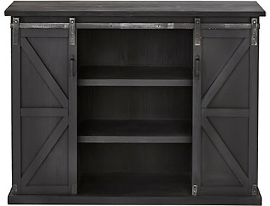 Elsie Charcoal Sliding Barn Door Chest, , large