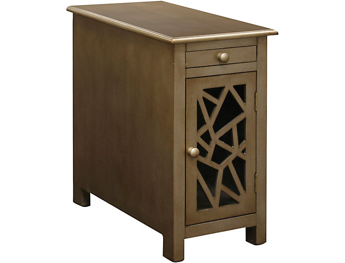 Carved Front Chairside Table With Usb Port