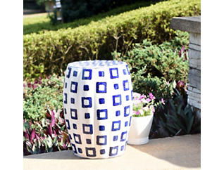Cubist Ceramic Garden Stool, , large
