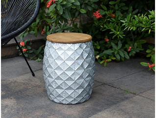 Wood Top Metal Garden Stool, , large