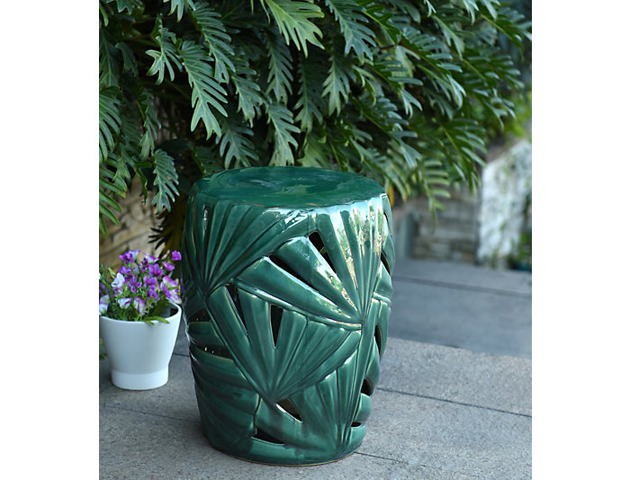 Phenomenal Palm Leaf Ceramic Garden Stool Caraccident5 Cool Chair Designs And Ideas Caraccident5Info