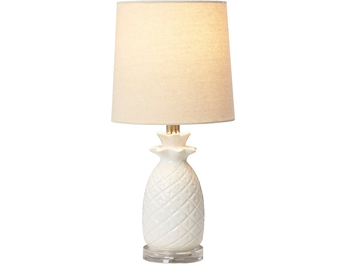 White Pineapple Table Lamp, , large