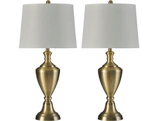 Pair of Antique Brass Lamps, , large