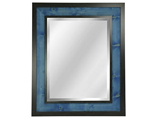 Deep Blue Stained Wall Mirror, , large