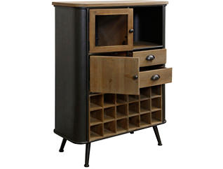 Black Metal and Wood Wine Cabinet, , large