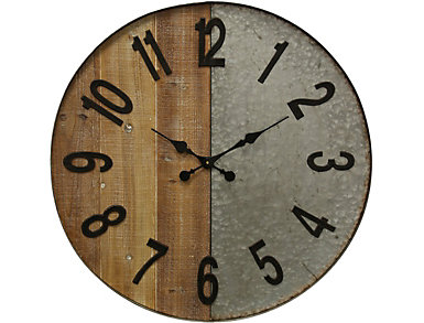 Wood and Galvanized Wall Clock, , large