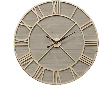 Ant.Ivory & Drftwd Wall Clock, , large