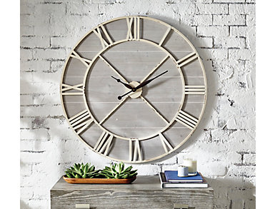 Ivory & Driftwood Wall Clock, , large