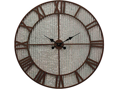 Galvanized/Rust Wall Clock, , large