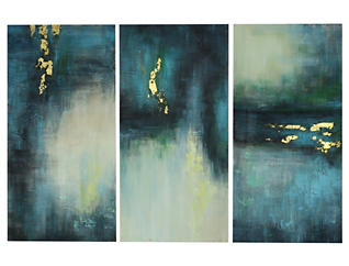 Shades of Blue & Green 3 Panel, , large
