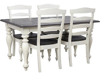 Carriage House Cream 5 Piece Dining Set with Ladderback Chairs, , large
