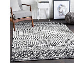 Elaziz Black/Dark Grey 5' x 7' Rug, , large